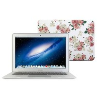 13 Macbook Air Case, GMYLE Hard Case Print Frosted for MacBook Air 13 inch (Model: A1369 and A1466) - White Floral Rose Pattern Rubber Coated Hard Shell Case Cover