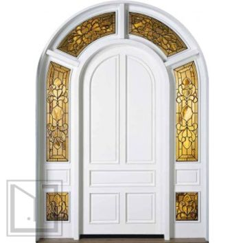 jeld-wen 435 Paintable Door with Wraparound Sidelights and Transom
