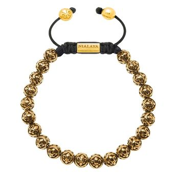 Men's Beaded Bracelet with Gold Indian Logo Beads