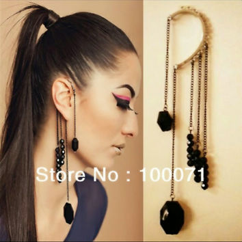 Black Beads Long Tassels Ear Cuff Earrings