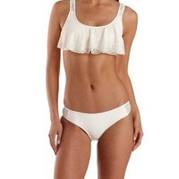 Ivory Crochet Cut-Out Bikini Bottoms by Charlotte Russe