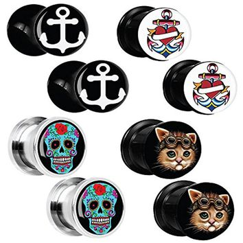 BodyJ4You 8PC Gauge Plugs Anchor Steampunk Cat Skull Stainless Steel Double Flare Ear Expander 6G-12mm