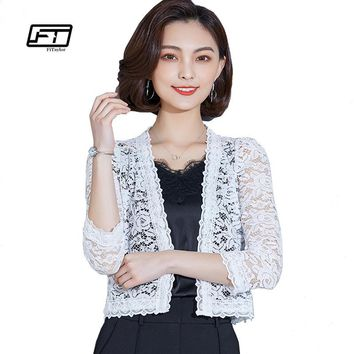 Trendy Fitaylor 2018 Summer New Thin Knit Shawl Cardigan Women Casual Three Quarter Sleeve Short Coat Lace Hollowed Out Jacket AT_94_13