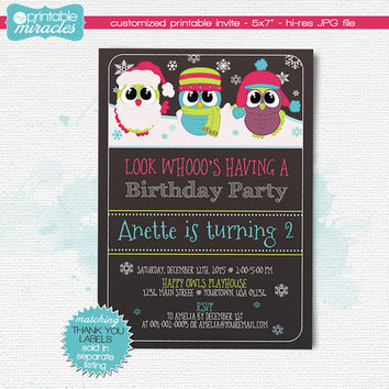 Owl birthday invite, Girls owls party, Printable owl invitation, Girl winter birthday theme, winter chalkboard invites