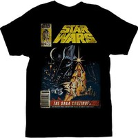 Star Wars The Saga Continues Magazine Cover Black Adult T-shirt - Star Wars - | TV Store Online