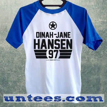 Dinah Jane Hansen Fifth Harmony Basic Baseball Tee Blue Short Sleeve Cotton Raglan T-shirt