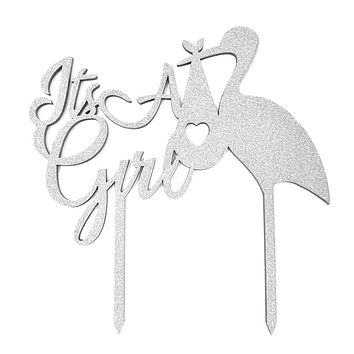 It's A Girl Baby Shower Glitter Cake Topper, 6-1/2-Inch, Silver