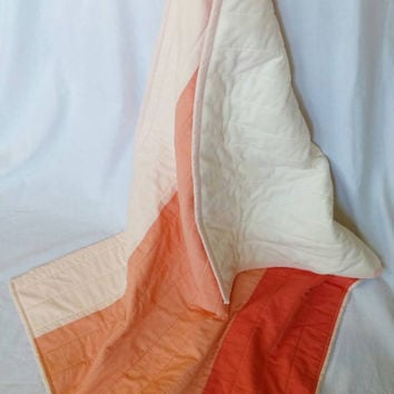 """Peach ombre baby quilt - Peach, red, and cream stroller blanket - Shot cotton with minky backing - 32""""x42.5"""" - Peach nursery bedding"""