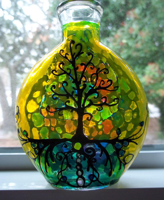 Mosaic Design Tree Of Life Stained Glass From Oldacres On Etsy