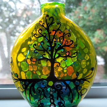Mosaic Design Tree of Life Stained Glass Bottle