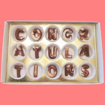 Congratulations Large Swirl Chocolate Letters-Luxury Graduation Baby Shower Wedding Gifts for Man Woman Couple