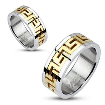 Maze Pattern Gold IP Center Band Ring 316L Stainless Steel
