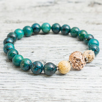 Green phoenix stone & jasper stone beaded rose gold Lion head stretchy bracelet, made to order yoga bracelet, mens bracelet, womens bracelet