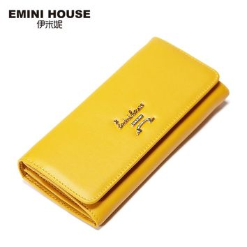 EMINI HOUSE Split Leather Long Wallet New Simple Women Wallets Zipper & Hasp Wallet Coin Purse Organizer Wallets Clutches