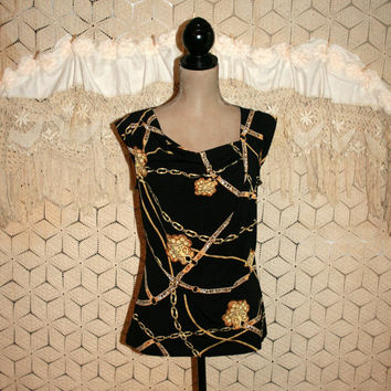 Black + Gold Chain Print Top Novelty Print Top Cap Sleeve Blouse Unique Tops Novelty Top Rodeo Drive Small Medium Womens Clothing