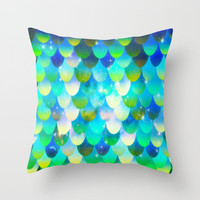 Mermaid Vibes Throw Pillow by Shashira Handmaker