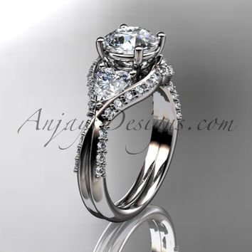 Unique platinum diamond wedding ring, engagement ring  ADLR319