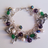"Amethyst, Green Apple Jade, Glass Pearl Bracelet with Seal and Palm Tree Charms // Child-To-Adult 6.5"" with 1"" Extender"
