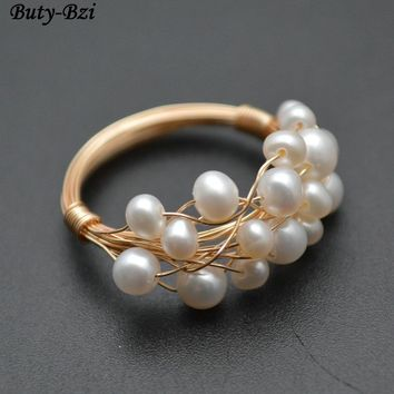 Handmade Natural Pearl Seed Beads Wire Wrapped Lacework Multi Rows Rings Fashion Woman Jewelry