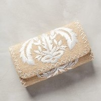 Crested Raffia Clutch by Anthropologie in Neutral Size: One Size Clutches