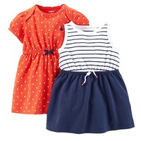 Carter's Stripe & Polka-Dot Dress Set - Baby