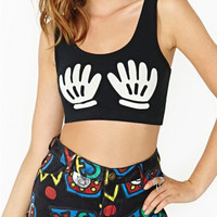 Sleeveless Hand Print Black Crop Top