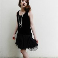 Vintage Black Velvet Flapper Style Dress from What Alice Found