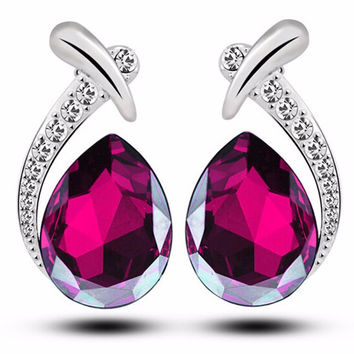 Teardrop Pear Zircon Drop Earring in 8 colors