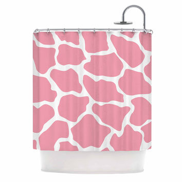"Wildlife ""Pink Animal Print 11"" White Digital Shower Curtain"