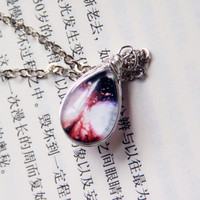 Snow Angel Teardrop Necklace- Galaxy double sided teardrop necklace