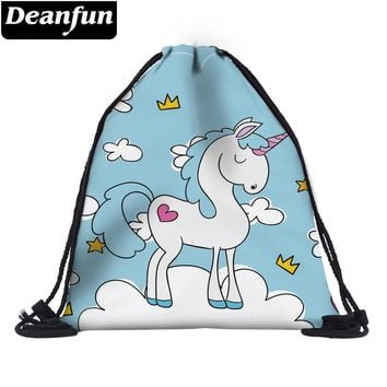 Deanfun Drawstring Bags 3D Printed Unicorn with Cloud Cute Gift Women School Bags 60075