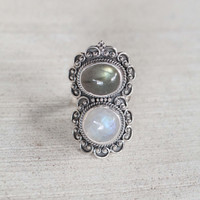 Moonstone Ring and Labradorite Statement Ring
