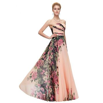 Long Evening Dress Floral Printed Pageant Gowns Sweetheart Floor Length Party Special Occasion