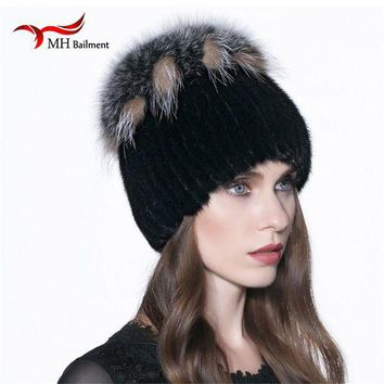 VONG2W Russia Women's Real Mink Knitted Fur Hat with Fox Fur PomPom Ball Winter WarmThick Hat Mink Casual Solid Luxury Beanies Cap H#26