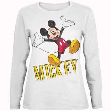 Mickey Mouse - Jump Mickey Juniors Long Sleeve T-Shirt