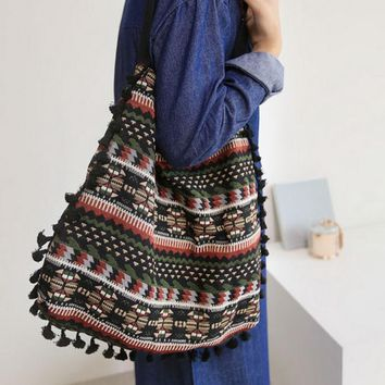 Tassel Fringe Women Vintage Shoulder Bag Gypsy Bohemian Ethnic Retro Knitting Woven Femanine Handbag Folk Boho Shopping Bag Tote