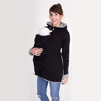 Autumn Winter Maternity Hoodies For Pregnant Women Clothes Baby Carrying Jacket Hooded Pregnancy Top Sweater Maternity Clothing