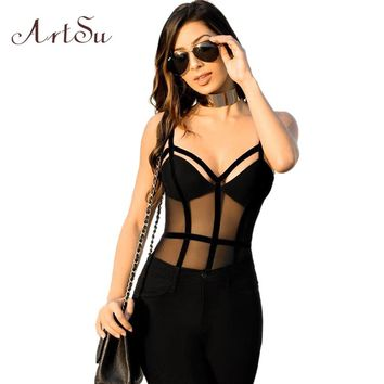 ArtSu 2017 Women Mesh Patch Strap Bodysuit Sexy Body Romper V Neck Club Jumpsuit Transparent Strip Catsuit Overalls ASJU30141