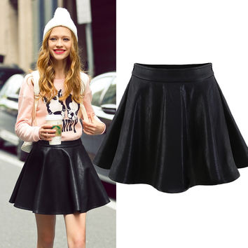 Black Pu Pleated Skater Skirt