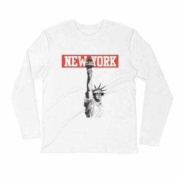 New York Long Sleeve Fitted Crew