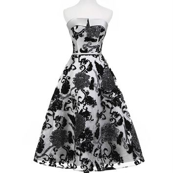 Off The Shoulder Satin With Printed Flowers Homecoming Dress