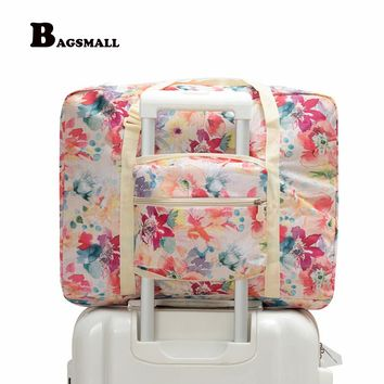 BAGSMALL Waterproof Travel Duffel Women Foldable Travel Bags Weekend Portable Garment Organizer Luggage Bag Put on Suitcase