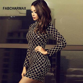 FABCHARMAX chic sequin dress long sleeve turtleneck party women autumn dress club wear sequined ladies outfit vestidos mujer