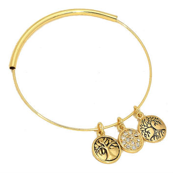 "Gold Tree Of Life / Crystal Adjustable ""Tree Of Life"" Bangle Charm Bracelet"