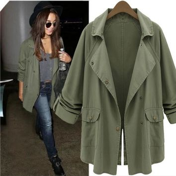 Coat Female Autumn Cardigan Trench Coat 2016 Casual Street Fashion Army Green Button Long Sleeve Veste Trench Outerwear  BF382