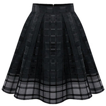 Pleated Organza Midi Skirt With Elastic High Waist Zipper