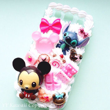 Stitch baby chibi decoden kawaii sweets phone case for iPhone 4/4s, 5, Samsung Galaxy S3, S4, Mini, S5, Ace, Htc One and One X