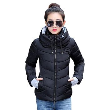 Womens Winter Parkas Thicken Outerwear Coats Short Slim Cotton Jacket
