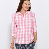 Shirts for Women: Big Gingham Shirt for Women - Vineyard Vines