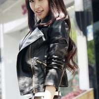 Black Notched Collar Zip Up Short Leather Jacket